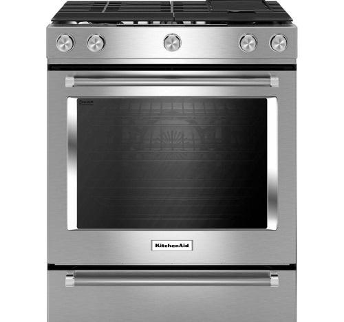 KitchenAid® 30-Inch 5-Burner Dual Fuel Convection Slide-In Range with Baking Drawer